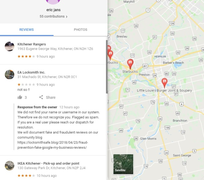 ERIC J Fake google review fraud scam