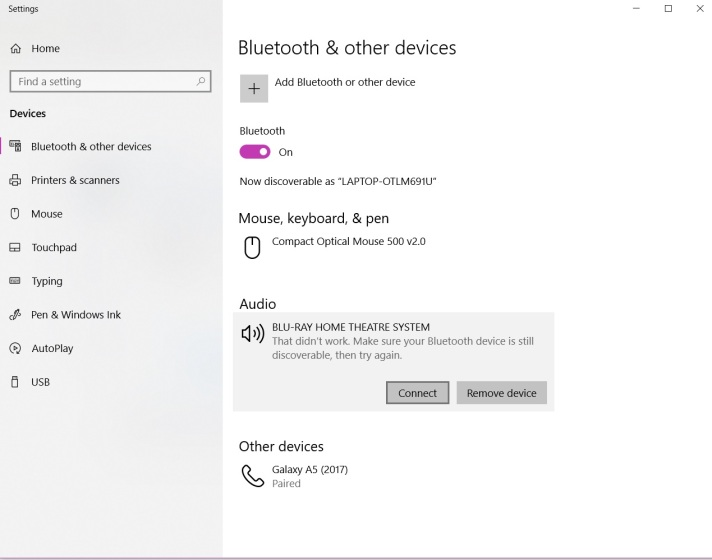 windows 10 bluetooth audio pair fail